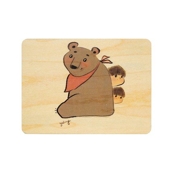 Carte postale bois kids 3 bear