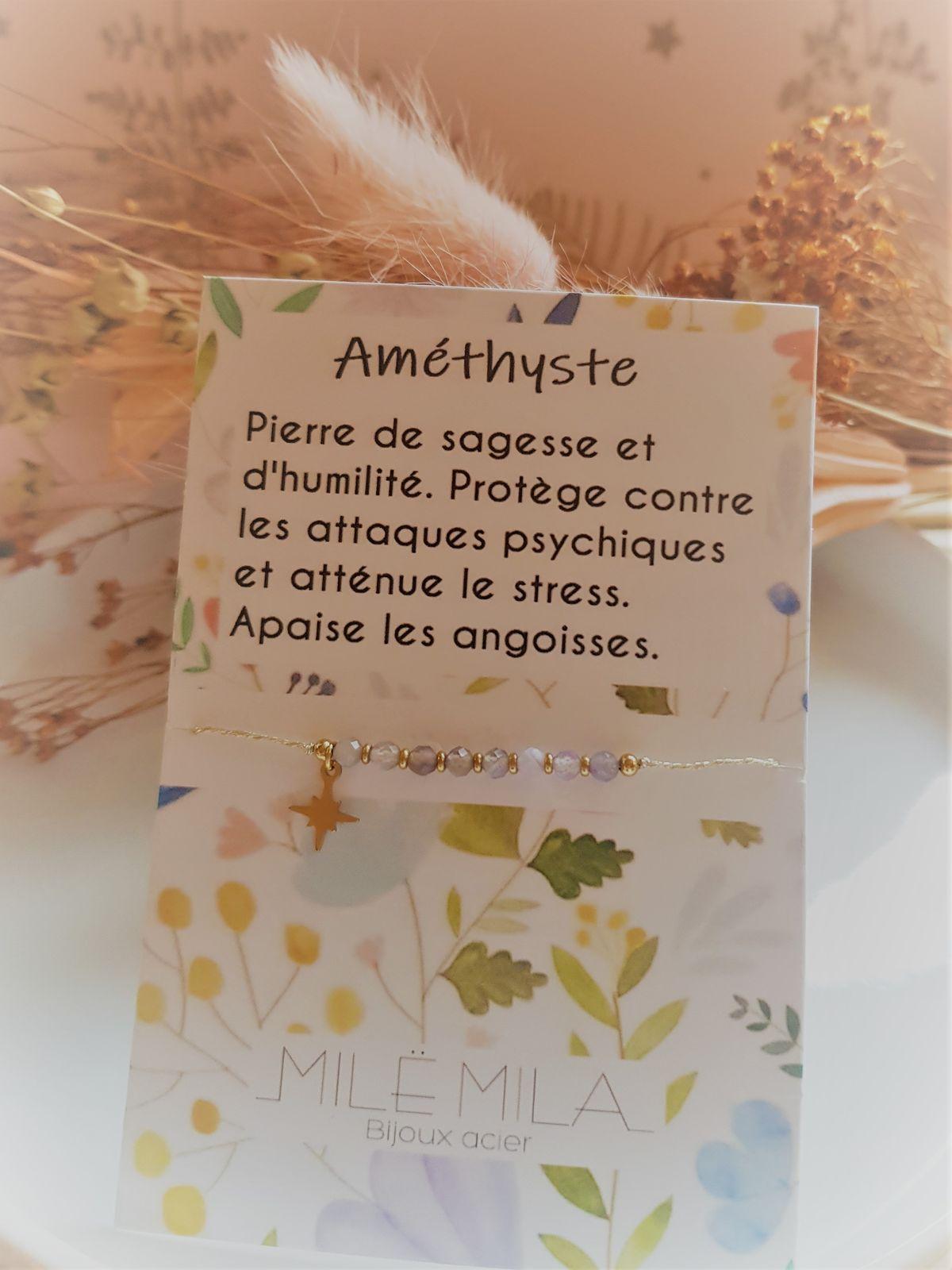 Bracelet porte-bonheur Améthyste