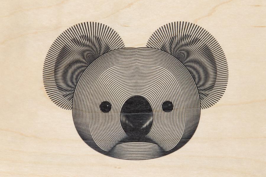 Carte postale bois Koala