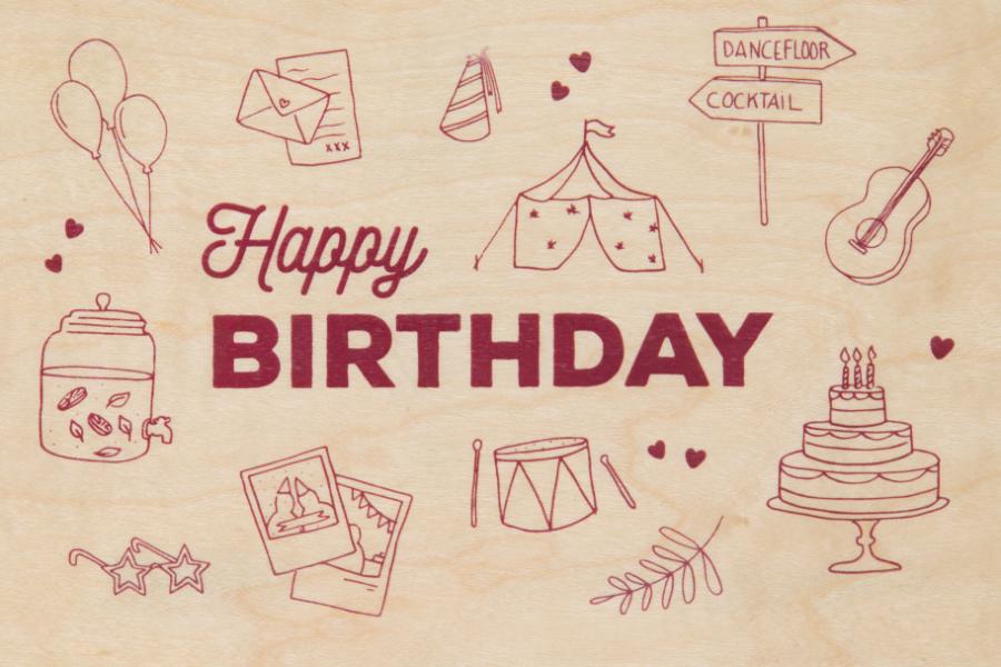 Carte postale bois Birthday