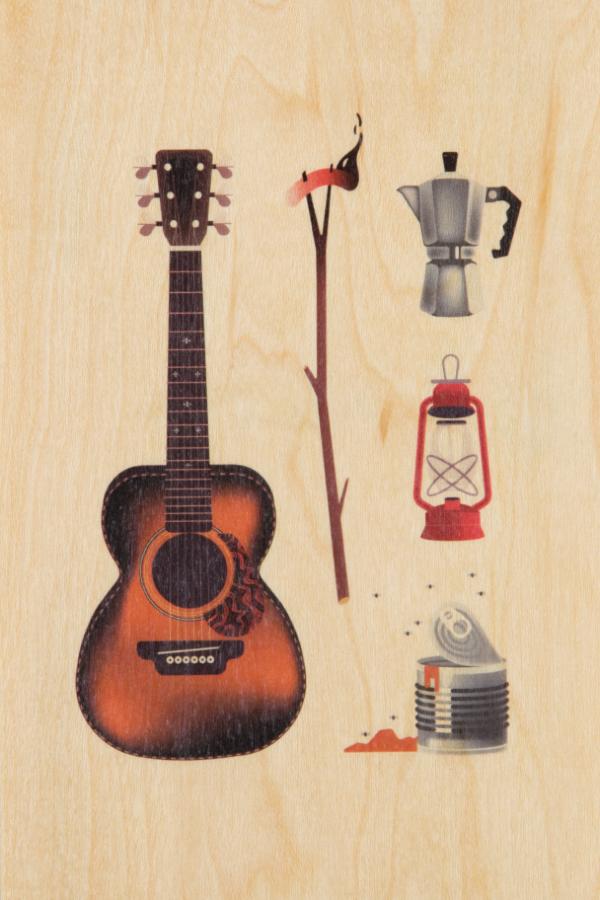 Carte postale bois Autour du feu