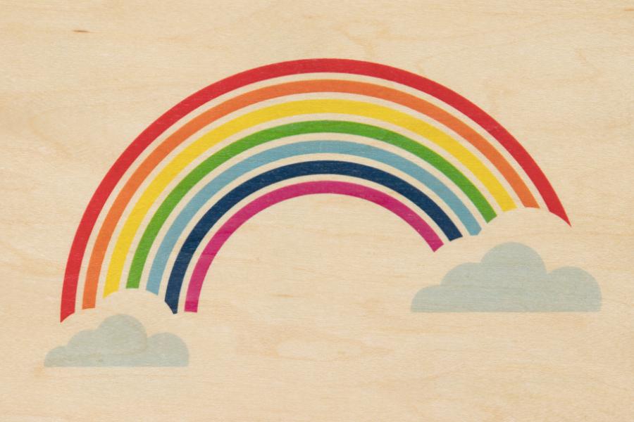 Carte postale bois Rainbow