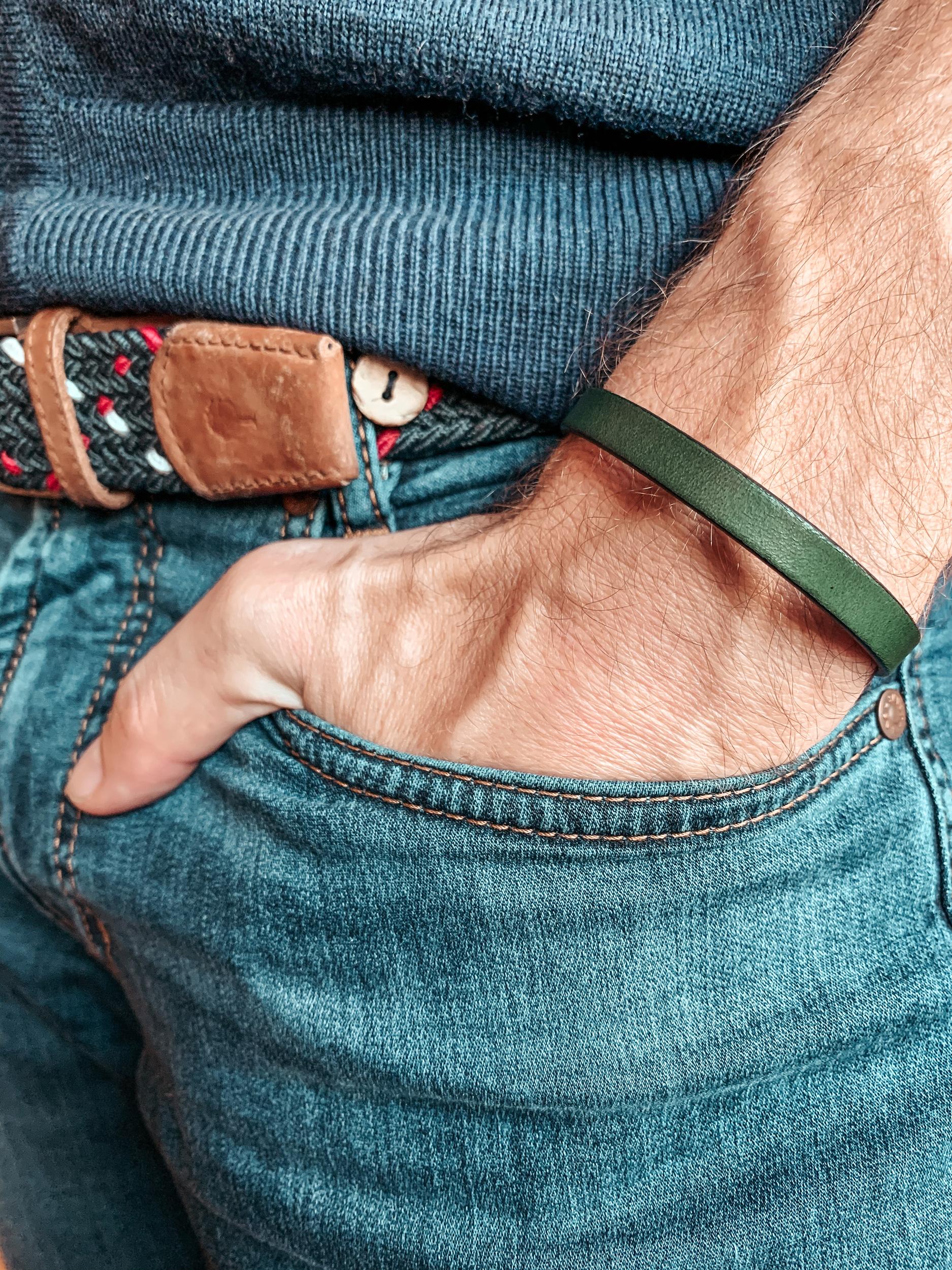 Bracelet cuir vert