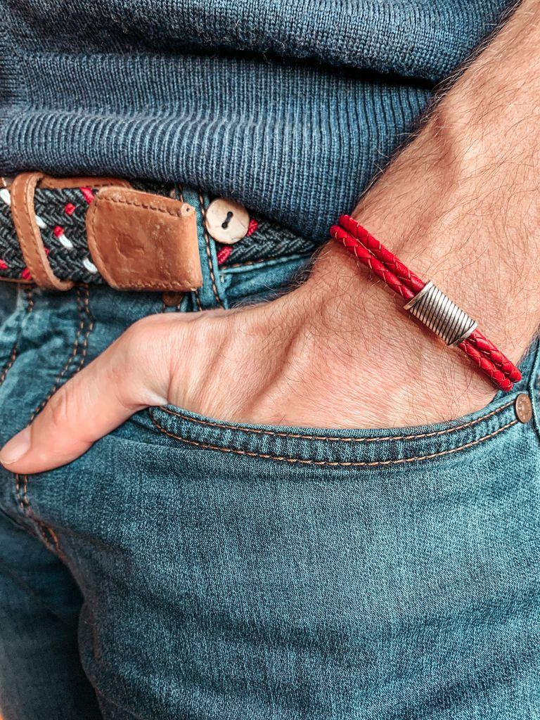 Bracelet cuir double rouge