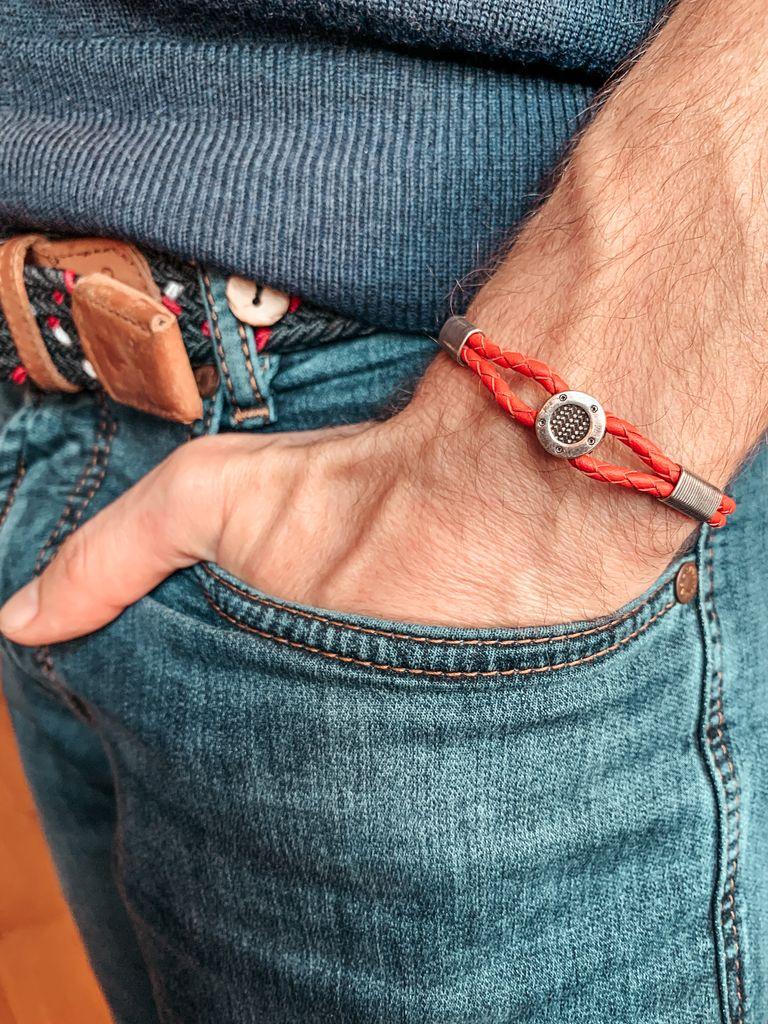 Bracelet cuir et métal orange