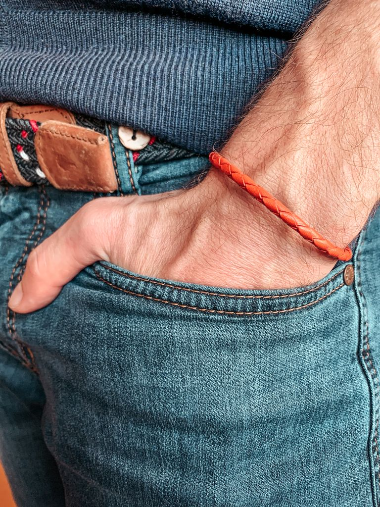 Bracelet cuir torsadé orange
