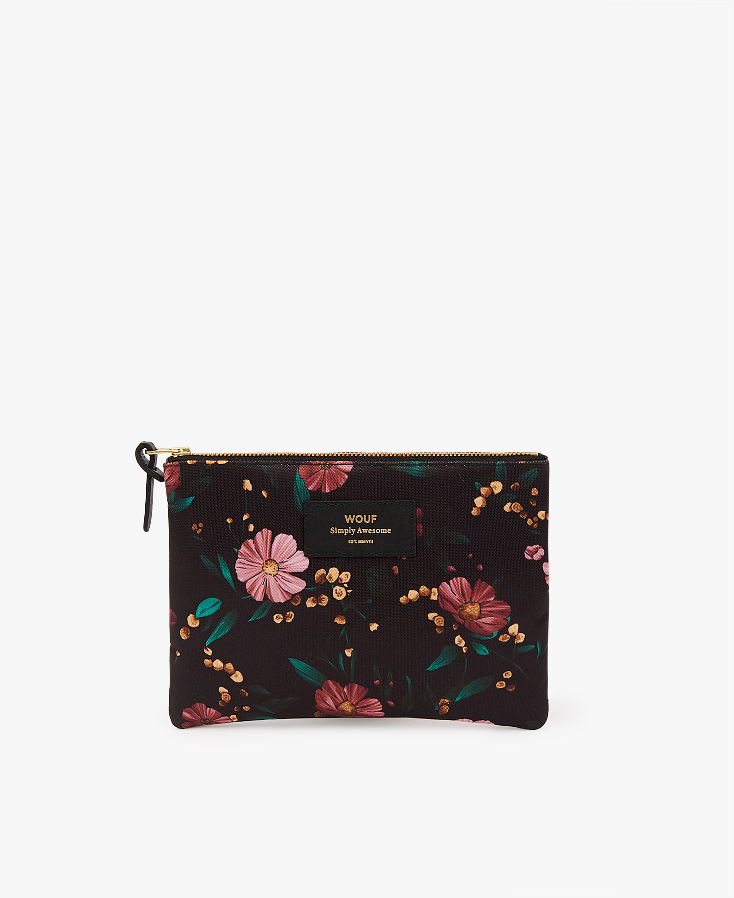 Black-Flowers-Large-Pouch-Bag-Front