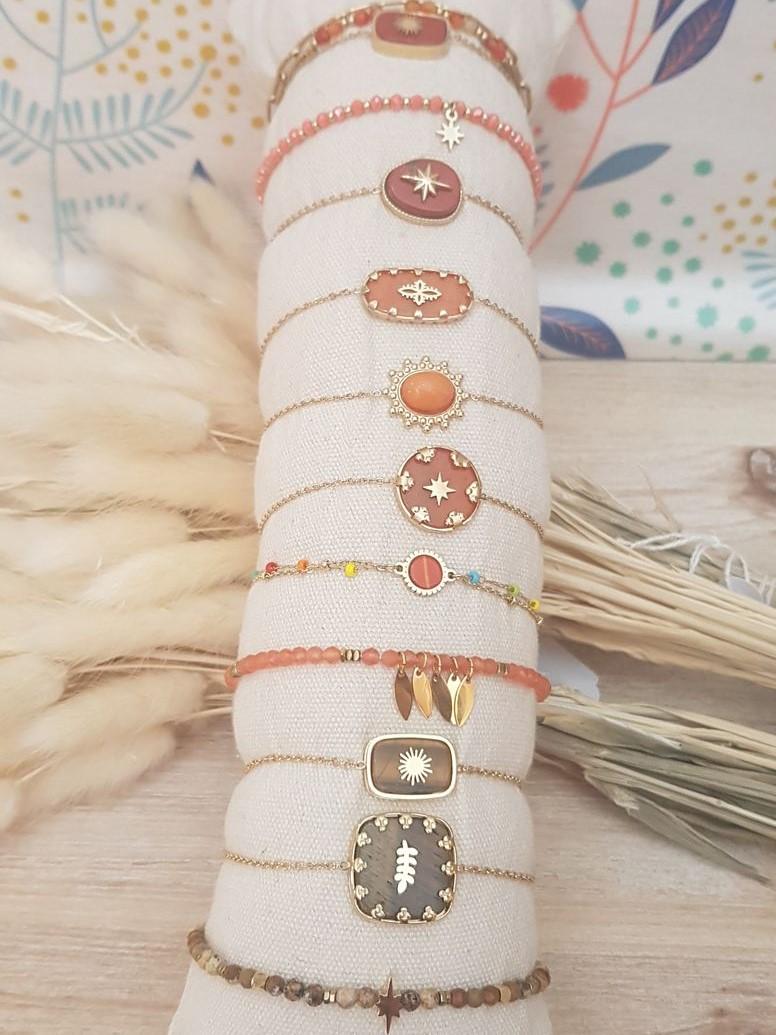 Bracelet acier orange brun