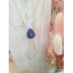 Collier acier Luna Lapiz Lazuli