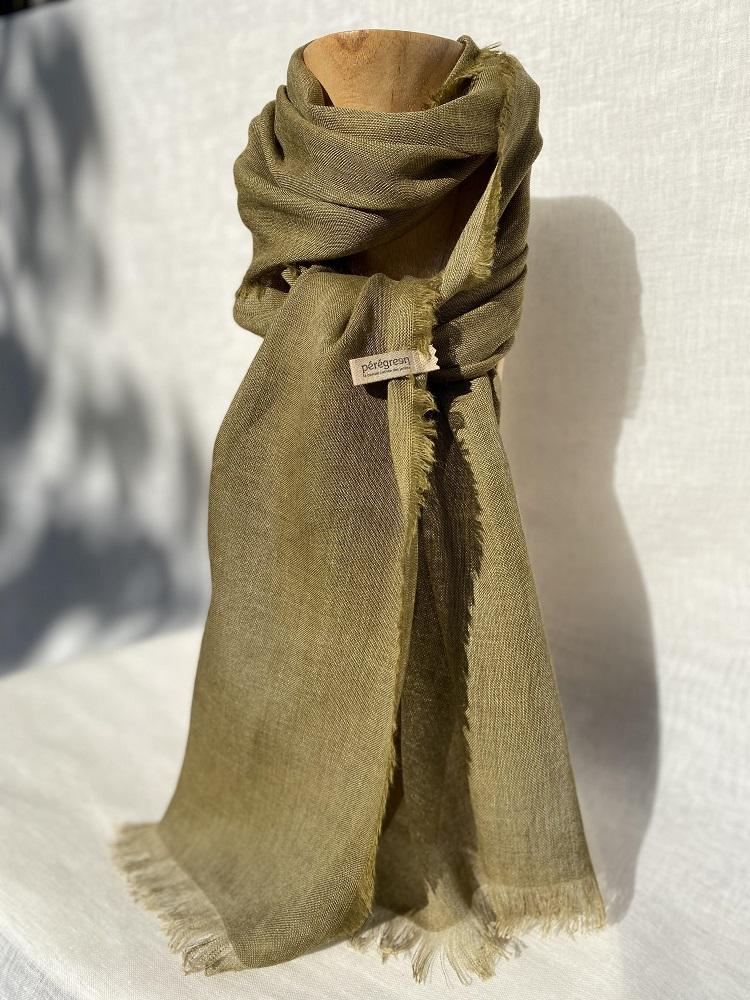 foulard lin laine alpaga gaude vert peregreen