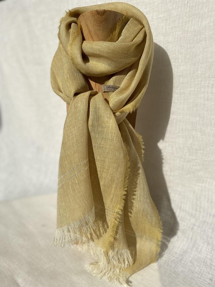 Foulard jaune anis lin alpaga