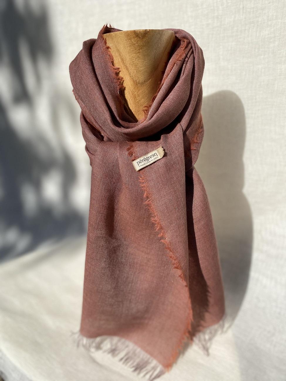 Foulard violet clair lin laine alpaga - couleur et teinture naturelle