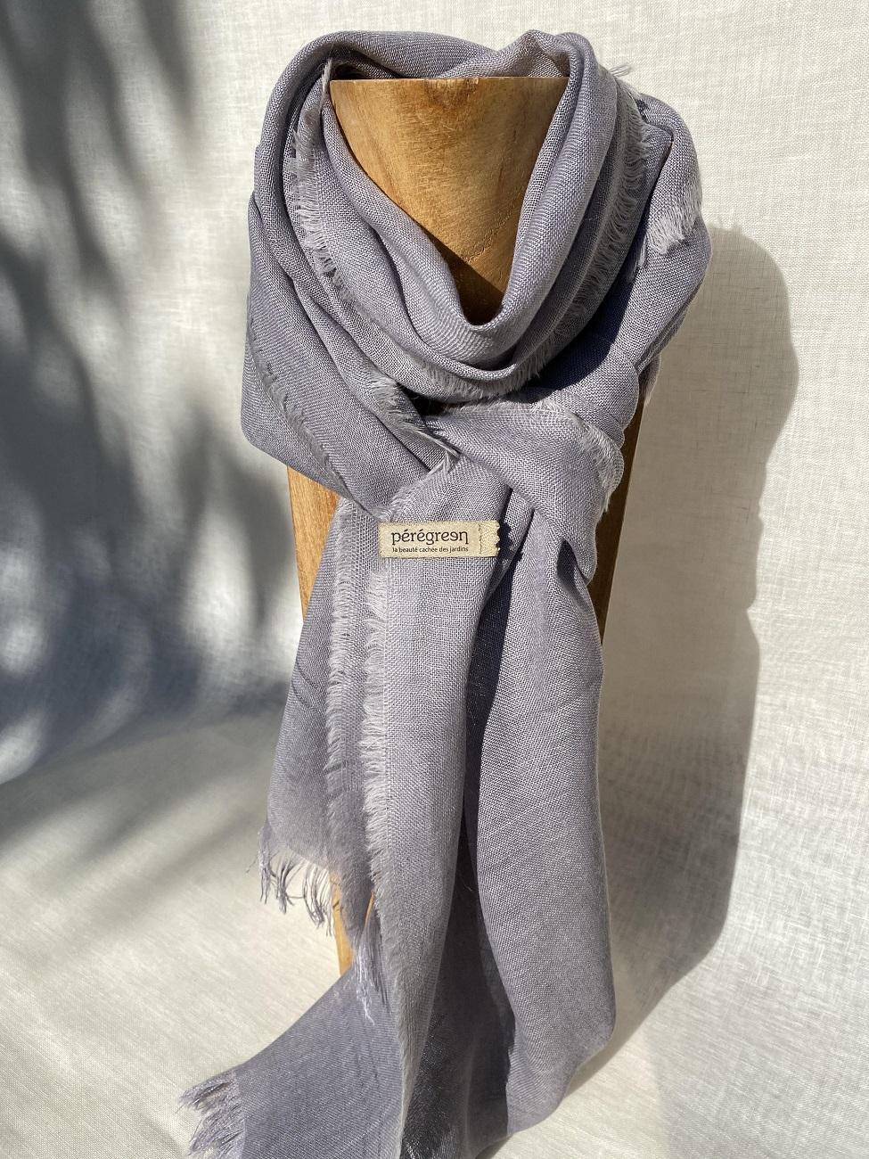 Foulard lin laine alpaga bleu - couleur et teinture naturelle
