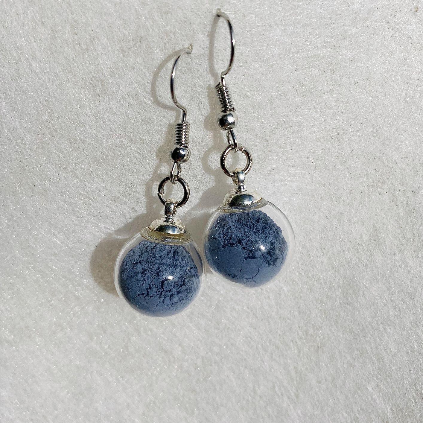 Boucles d\'oreilles - bleu Colette - crochets argentés