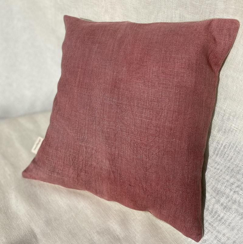 Housse de coussin en lin uni - violet