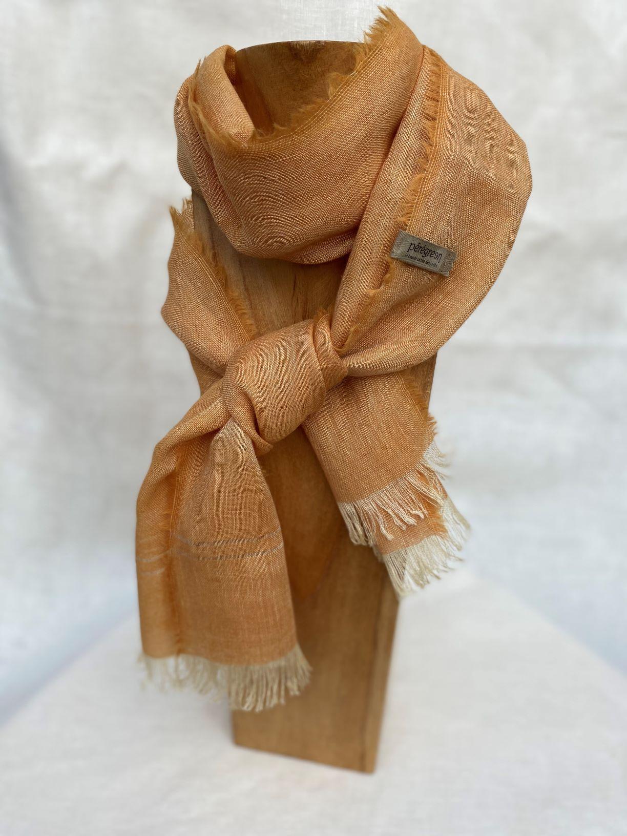 petit foulard orange lin alpaga peregreen