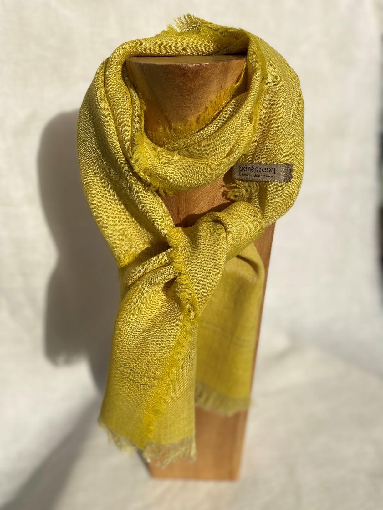 petit foulard jaune vif lin alpaga peregreen