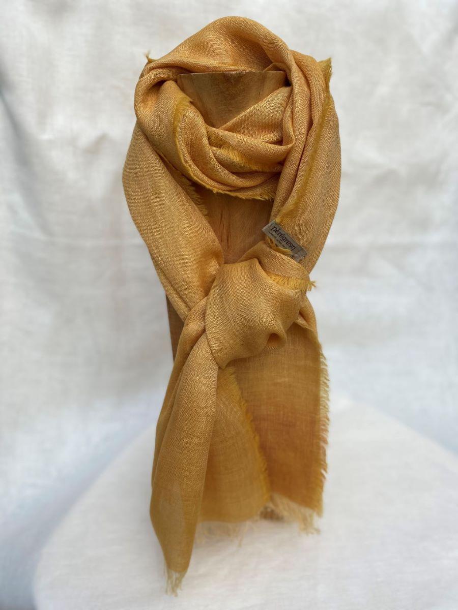 Foulard orange lin alpaga - couleur et teinture naturelle