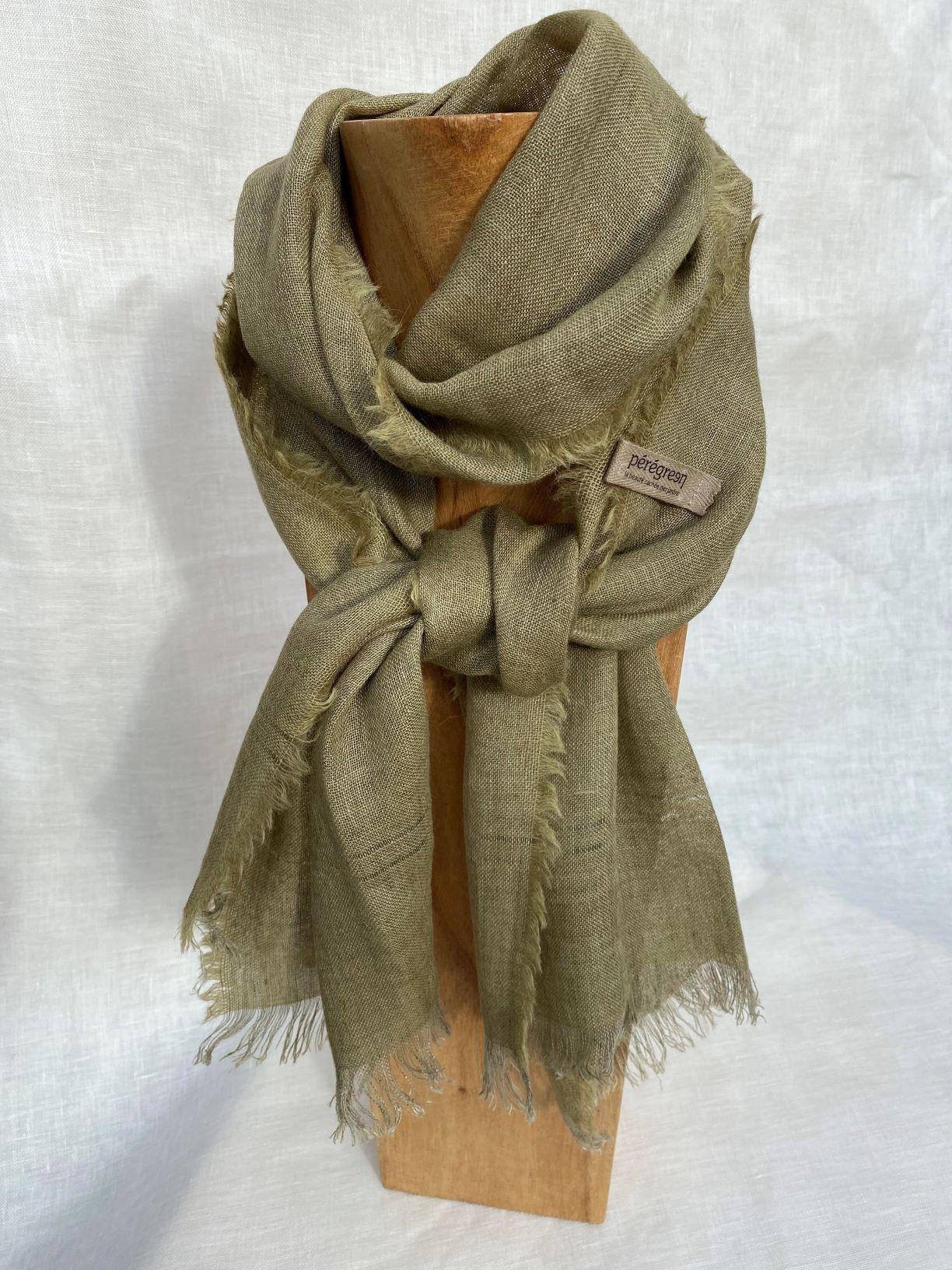 petit foulard vert chine lin alpaga peregreen