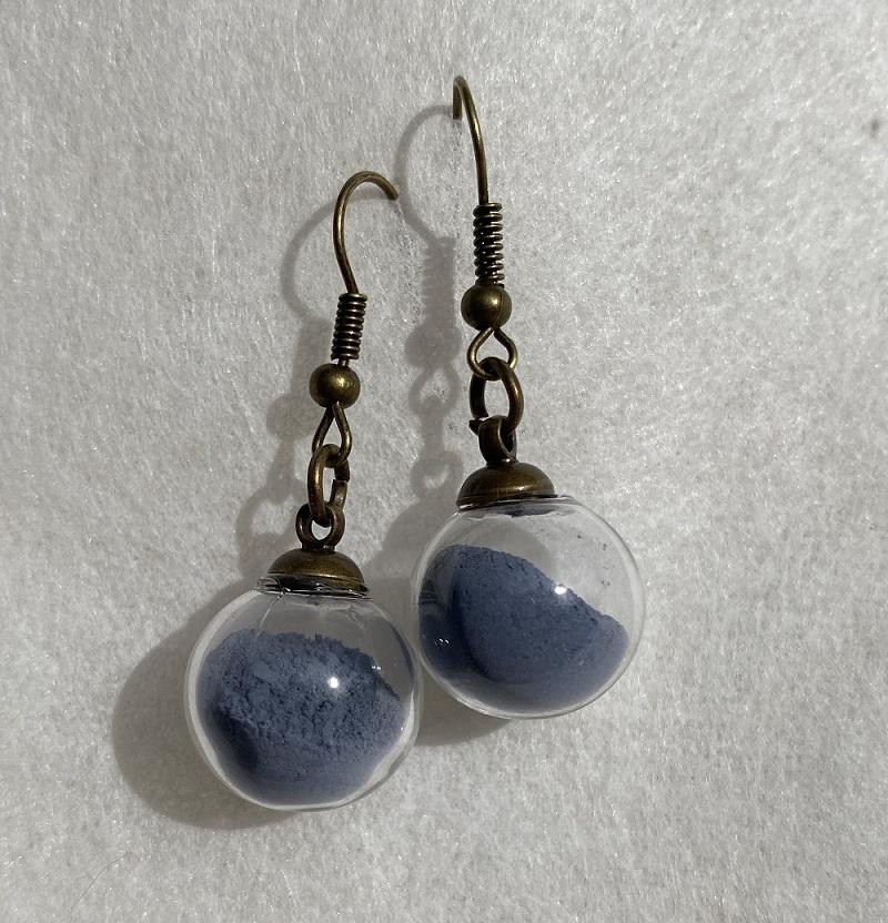 Boucles d\'oreilles - bleu Colette - crochets bronze