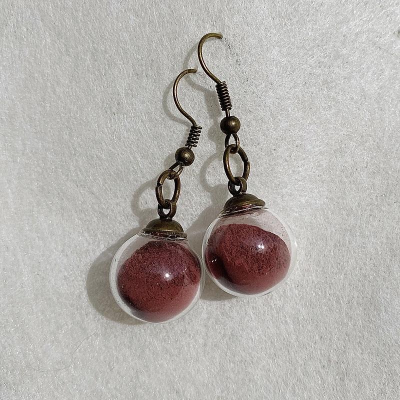 Boucles d\'oreilles - rose grenat Rosa Bonheur - crochets bronze