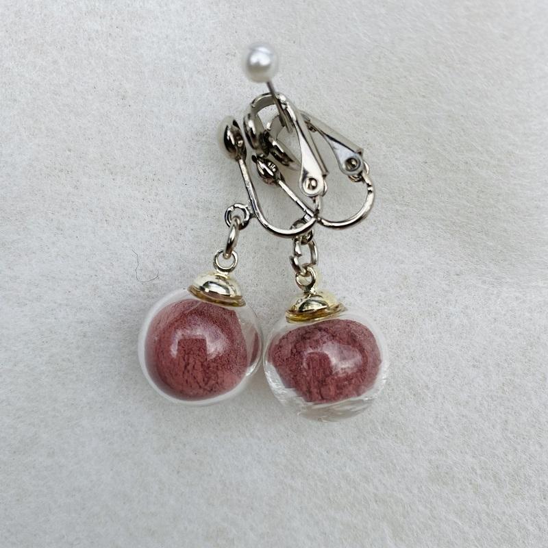 Boucles d\'oreilles - rose grenat Rosa Bonheur - clips