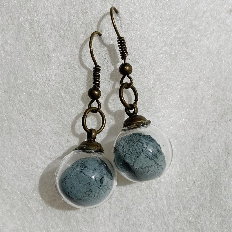 Boucles d\'oreilles - émeraude - crochets bronze