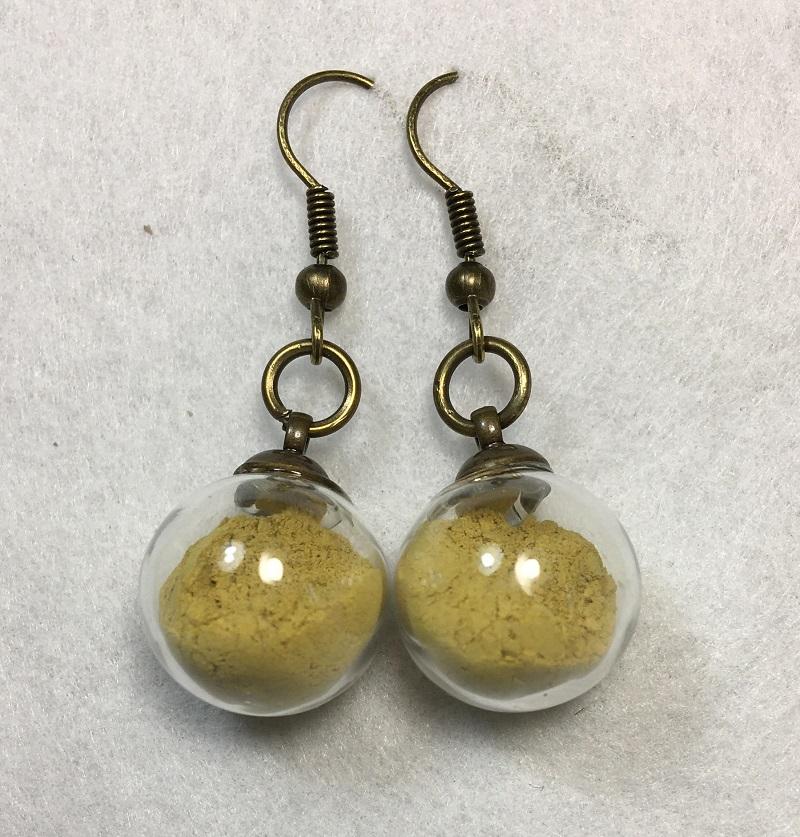Boucles d\'oreilles - jaune - crochets bronze