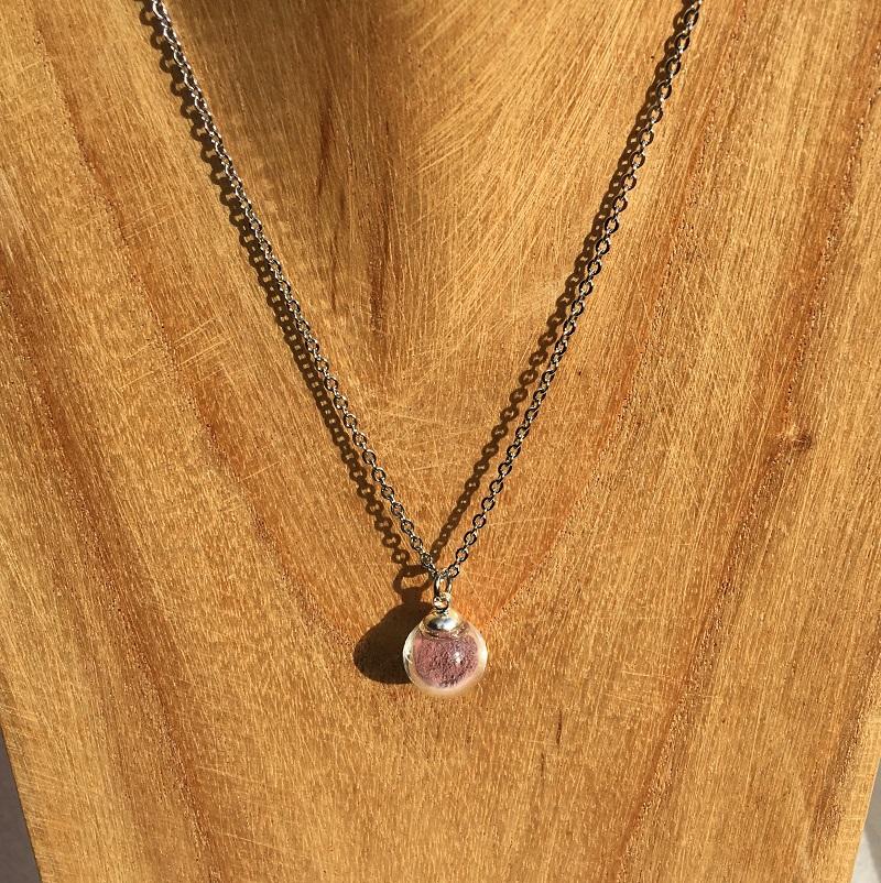 Collier chaine 1 bulle rose pâle Léopoldine