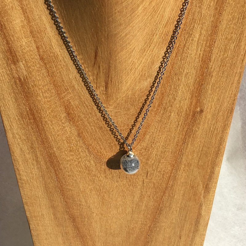 Collier chaine 1 bulle gris