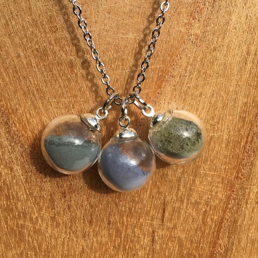 Collier chaine 3 bulles (vert-bleu-émeraude)