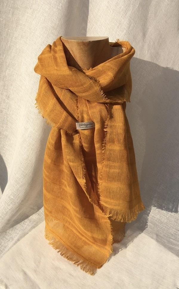 foulard orange voile de lin rayé pelures oignon peregreen