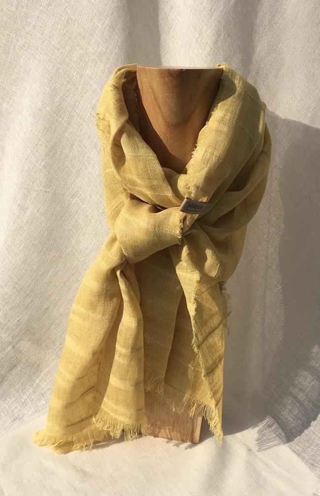 foulard jaune voile de lin rayé fleurs de vergerette Pérégreen