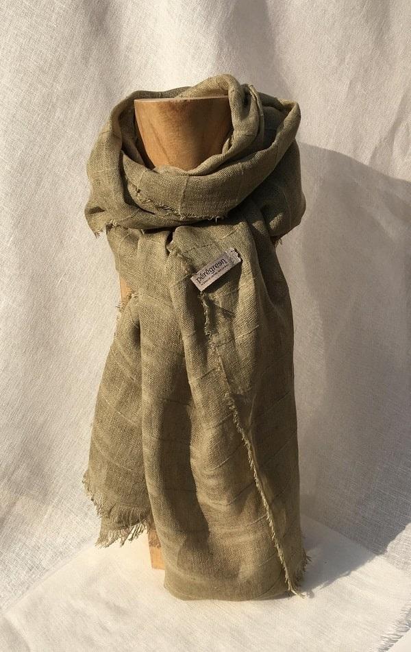 foulard vert voile de lin raye fleurs de vergerette Peregreen