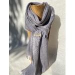 foulard lin alpaga bleu gris noix de galle de chêne