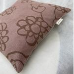 coussin lin rose pale imprime