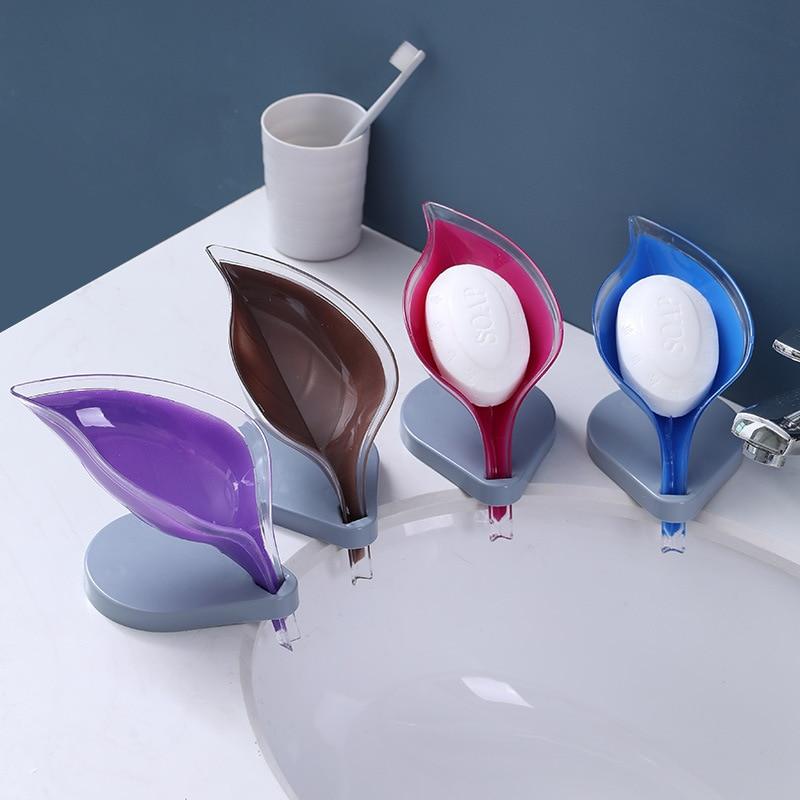 Support pour savon ou éponge en forme de feuille en Silicone à ventouse.