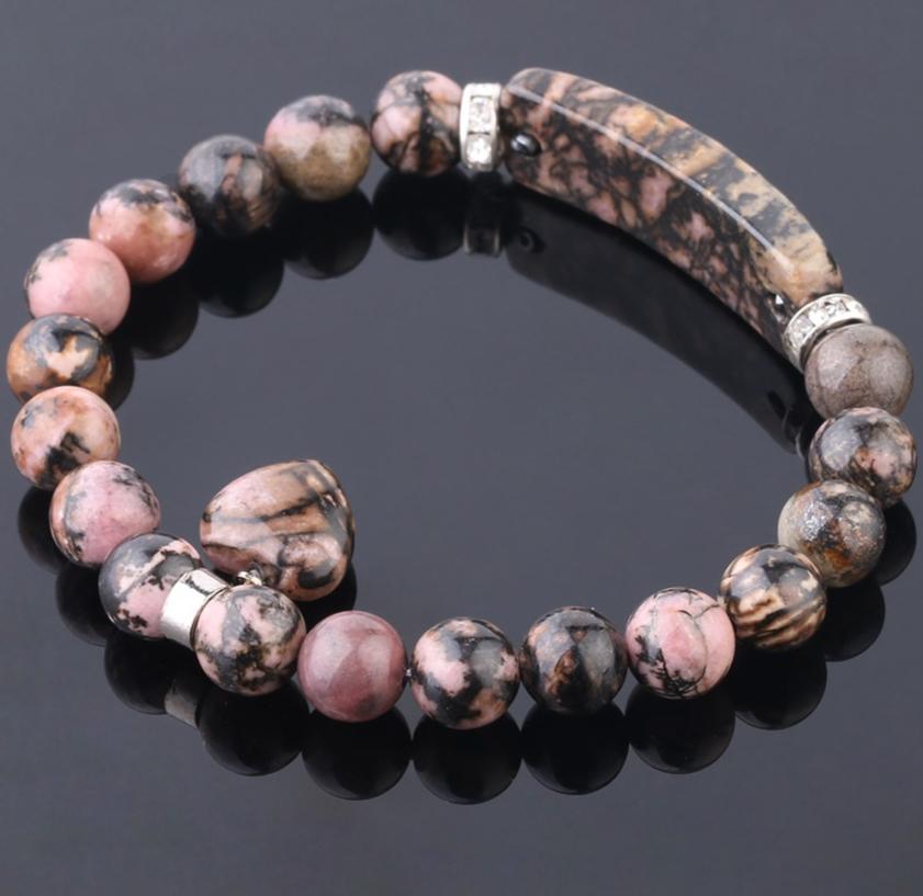 Bracelet Naturel Gemme, Rhodonite, Amour, Cœur.