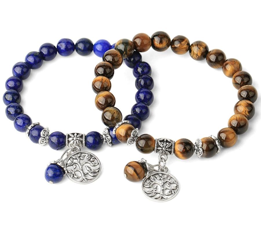 Bracelets en pierres naturelles de couleurs, perles et arbre de vie.