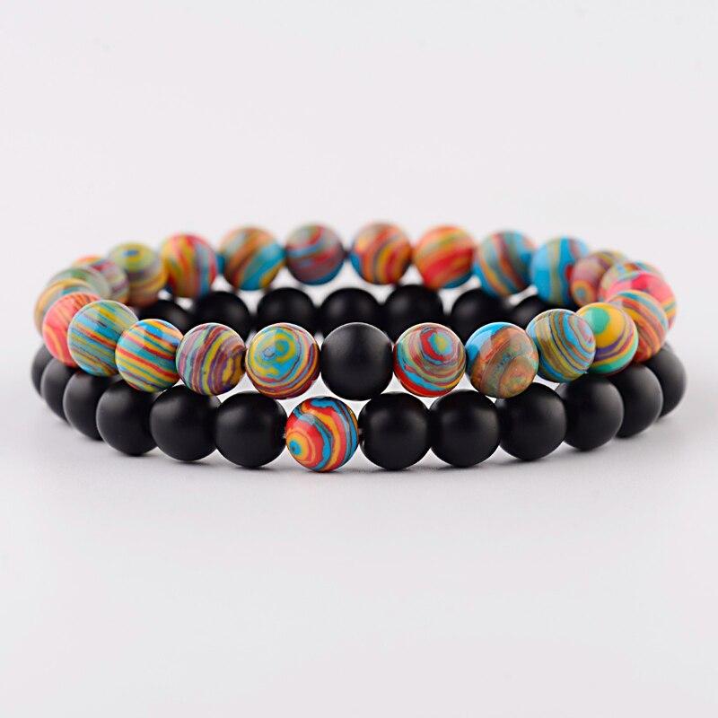 Bracelets Couples naturel noir et coloré.