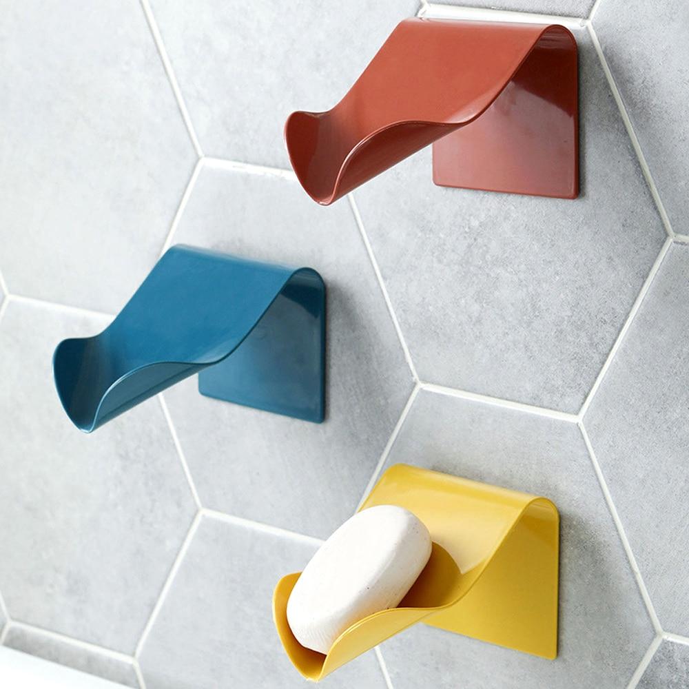 Porte-savon mural avec adhésif solide, salle de bains.