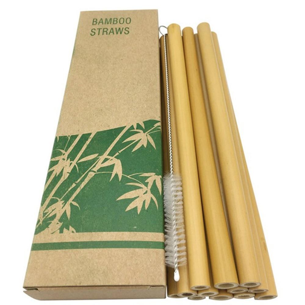 10 Pailles réutilisables en bambou naturel avec brosse.