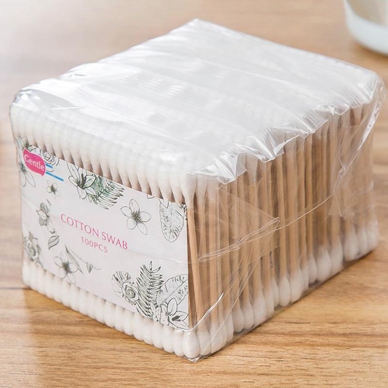 500 pièces/paquet Double tête coton-tige en bambou.