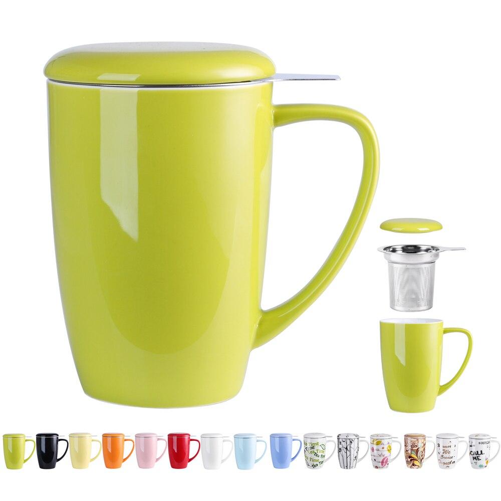 Tasse à thé en porcelaine 450ml avec couvercle et filtre.