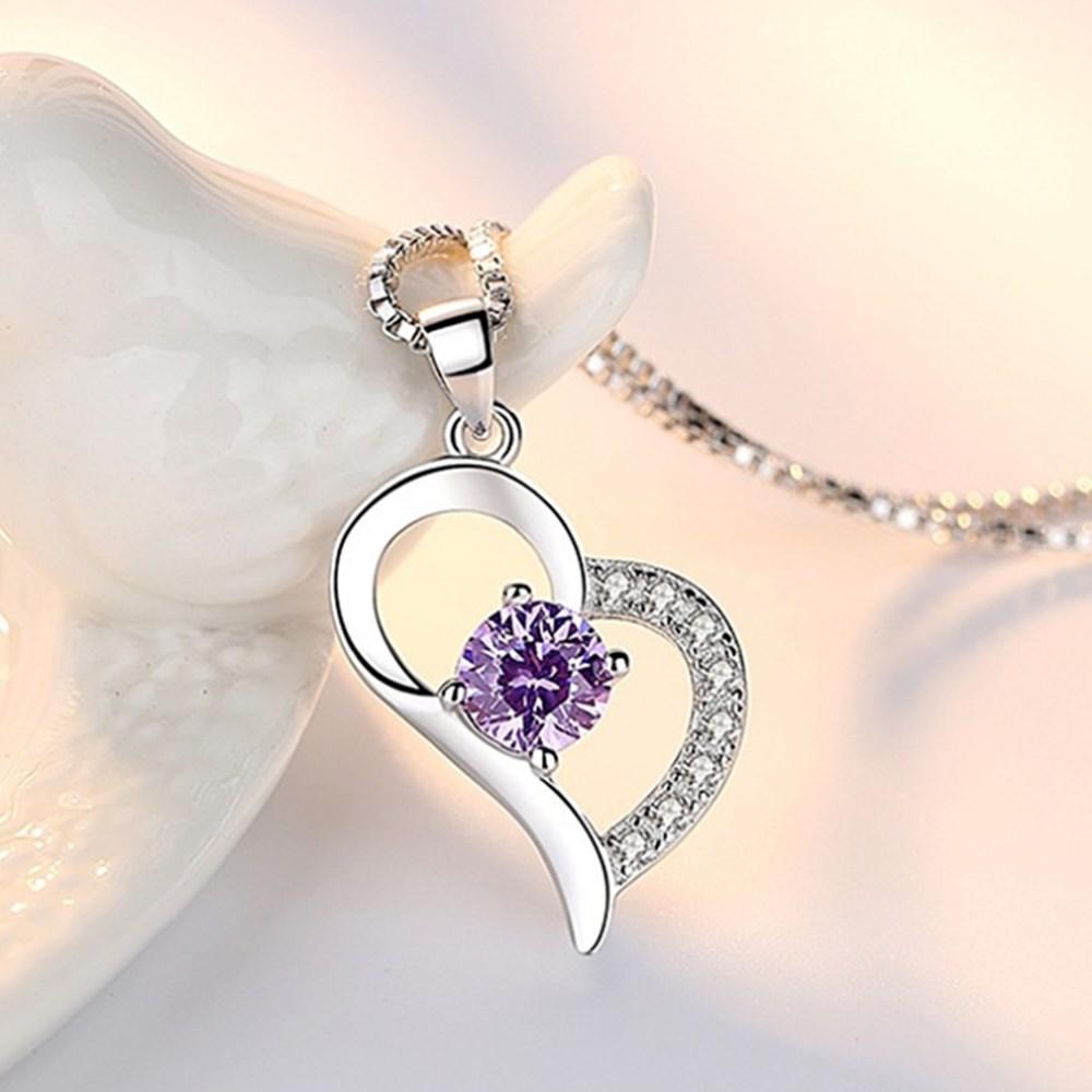Collier pendentif cœur en argent Sterling 925.