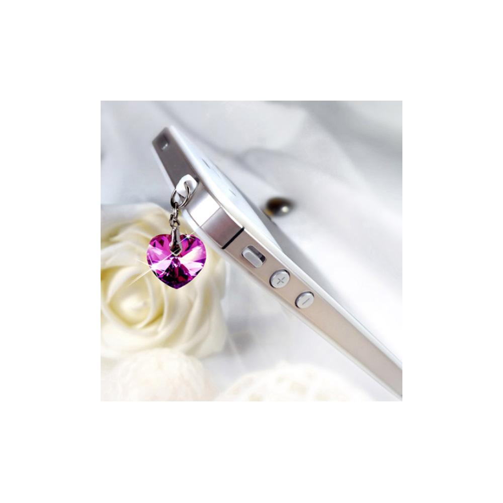 Bijoux Smartphone Cœur orné de cristaux Swarovski Rose.