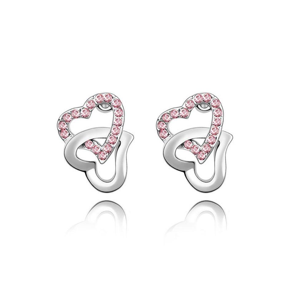 Boucles d\'oreilles Cœurs entrelacés ornées de Cristal rose de Swarovski.