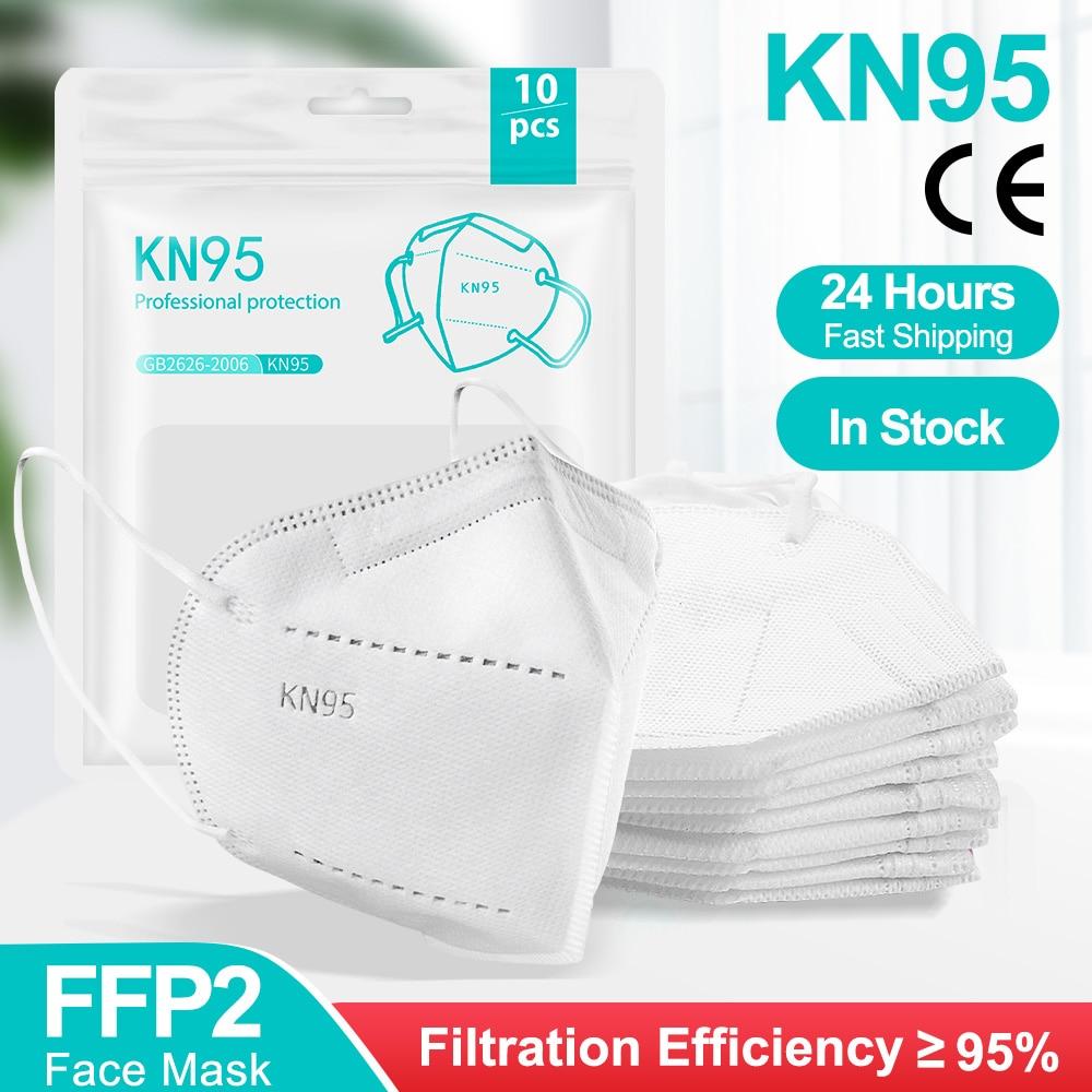 Masques FFP2 lot de 100 KN95 certifié CE, 5 couches.