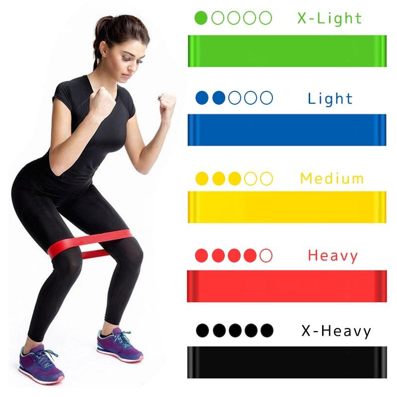 Bandes élastiques pour forme physique en caoutchouc, résistance, pour Yoga Fitness 0.3mm-1.1mm.