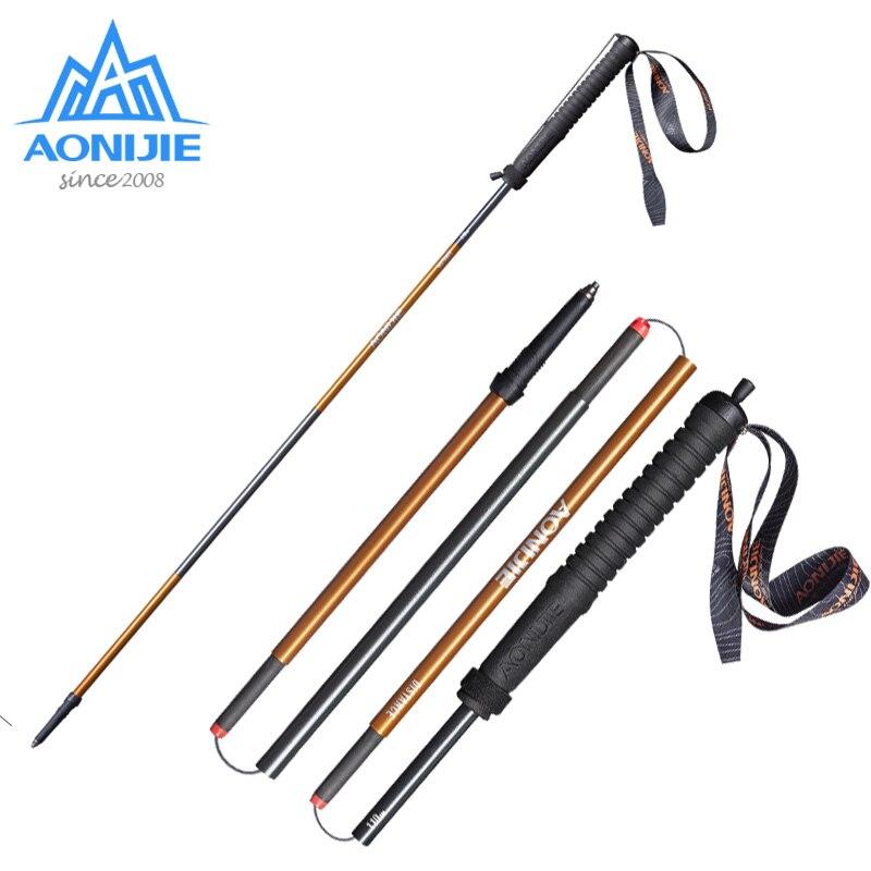 AONIJIE-Bâton pliant ultraléger à verrouillage rapide, pour Trekking, course, marche, Fibre de carbone.